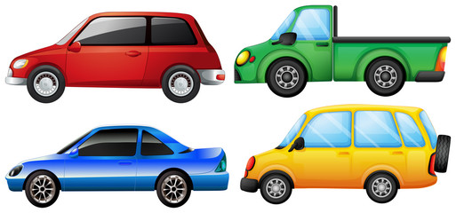 Four different vehicles