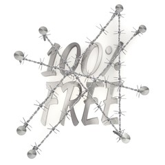 Locked  100 percent free sign   in steel
