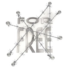 Fenced  and nailed for free symbol  in steel