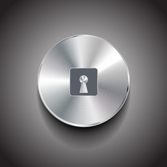 Lock metal vector button