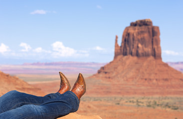 jeans and boots at Monument Valley