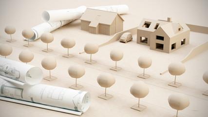 Architektur Planung Zeichung Miniatur Modelle