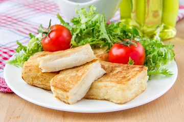 French toast with eggs and mozzarella