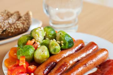 Closeup of grilled sausages