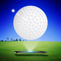 Golf on mobile on green grass with blue sky