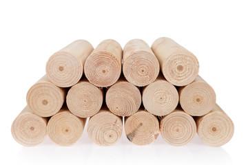 Fototapeta Kłody drewna okrągłe, toczone na białym tle. obraz