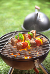 Healthy beef kebabs grilling over a fire