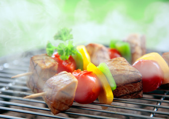 Beef kebabs cooking on a grill