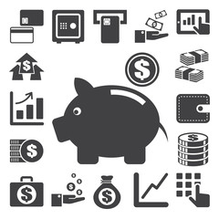 Finance and money icon set.Illustration eps10