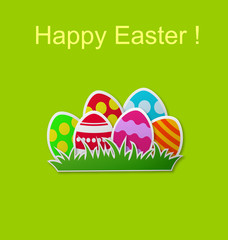 Paper card with Easter eggs
