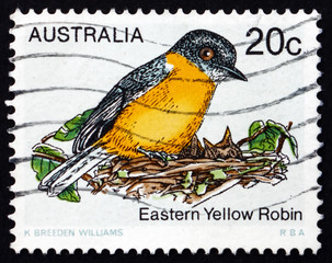 Postage stamp Australia 1979 Eastern Yellow Robin, Bird
