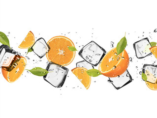 Foto op Plexiglas In het ijs Oranges with ice cubes, isolated on white background