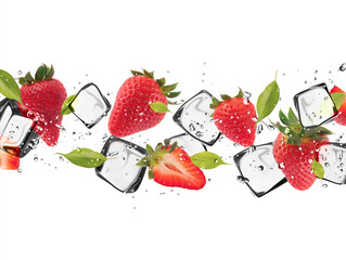 Tuinposter In het ijs Strawberries with ice cubes, isolated on white background
