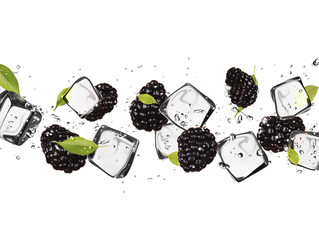 Foto op Plexiglas In het ijs Blackberries with ice cubes, isolated on white background