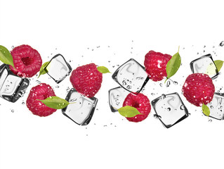 Fotorollo In dem Eis Raspberries with ice cubes, isolated on white background