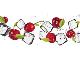 Fotorollo In dem Eis Fresh cherries with ice cubes, isolated on white background