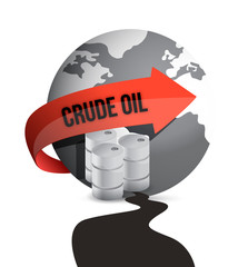 Oil drum, barrel and Earth globe in an oil spill