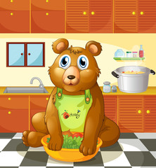Foto auf AluDibond Baren A bear holding a bowl of vegetables inside the kitchen