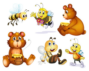 Acrylic Prints Bears Two bears and four bees