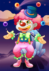 The clown with his magic balls