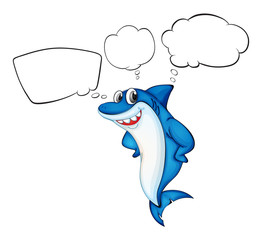 A blue shark with empty callouts
