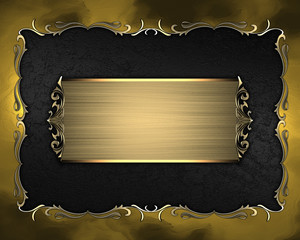 Black texture with golden frame with pattern and golden plate