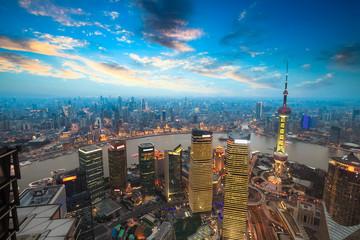 Aluminium Prints Shanghai shanghai in sunset