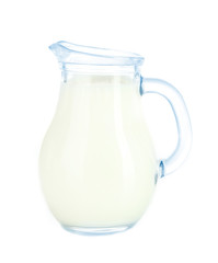 Pitcher of milk isolated on white