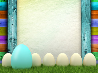 Easter background - eggs and blank sheet