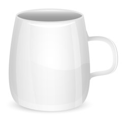 illustration of cup of white color on a white background