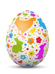 Osterei, Ostern, Blumen, Henne, Häschen, Hase, Küken, 3D, Design