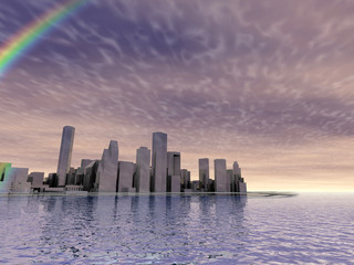 3D abstract modern city on beautiful seascape with rainbow