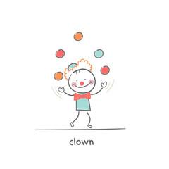 Clown juggling. Illustration.