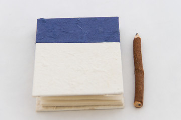 Handmade notebook and pencil