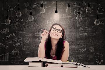 Beautiful student has bright idea