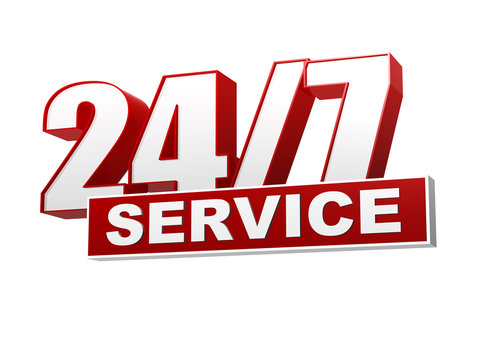 24/7 service red white banner - letters and block