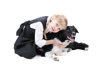 Russian girl and black and white border collie dog