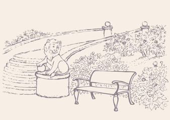 Vector landscape. Bench near blossoming bushes in the park