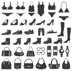 Set of vector silhouettes: shoes, swimwear and accessories.