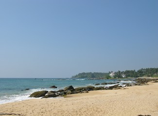 The beach and the Indian ocean in Sri Lanka
