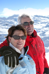 Mature ski couple
