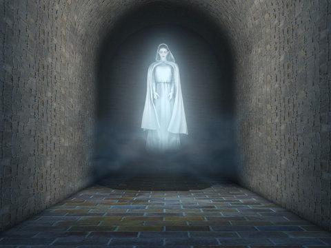 Fantasma de una mujer con ropa antigua