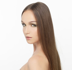 Attractive girl with long hair,isolated