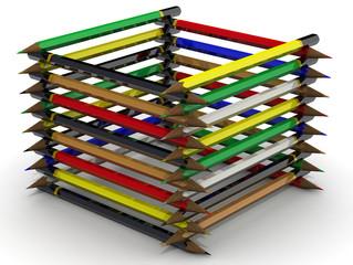 Фигура куба из цветных карандашей