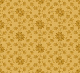 pattern with flowers mustard colored