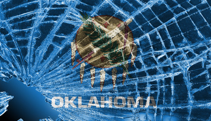 Broken glass or ice with a flag, Oklahoma