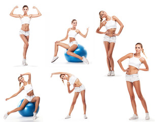 Sport woman in perfect shape with  green measure. Healthy lifest