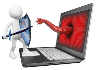 3D white people. Antivirus protection against computer virus