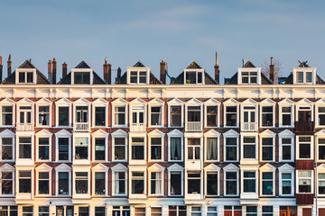 Row of Dutch old white houses
