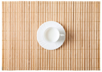 Close up of bamboo mat with old glasses